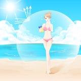 Γυναίκα με sunscreen διανυσματική απεικόνιση