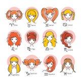 Γυναίκα με 12 Zodiac εικονίδια σημαδιών καθορισμένα απεικόνιση αποθεμάτων