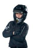 γυναίκα μοτοσικλετών ιμ&a Στοκ Φωτογραφία