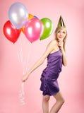 γυναίκα μπαλονιών στοκ εικόνες με δικαίωμα ελεύθερης χρήσης
