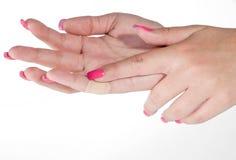 γυναίκα μπαλωμάτων χεριών Στοκ Φωτογραφία
