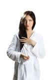 γυναίκα μπουρνουζιών στοκ φωτογραφίες