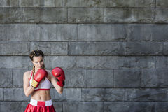 Γυναίκα μπόξερ sportswear Στοκ φωτογραφία με δικαίωμα ελεύθερης χρήσης