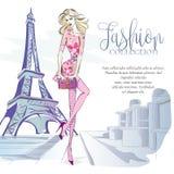 Γυναίκα μόδας κοντά στον πύργο του Άιφελ στο Παρίσι, έμβλημα μόδας με το πρότυπο κειμένων, αγγελίες μέσων on-line αγορών κοινωνικ διανυσματική απεικόνιση