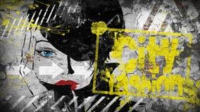 γυναίκα μόδας Μόδα πόλεων Ανασκόπηση Grunge Στοκ φωτογραφία με δικαίωμα ελεύθερης χρήσης