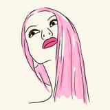 Γυναίκα μόδας στο ρόδινο χείλι και μακρυμάλλης Στοκ φωτογραφία με δικαίωμα ελεύθερης χρήσης