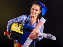 Γυναίκα οικοδόμων με την ταπετσαρία Στοκ Εικόνα