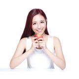 Γυναίκα ομορφιάς με το μήλο Στοκ Φωτογραφία