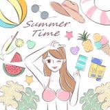 Γυναίκα ομορφιάς το καλοκαίρι ελεύθερη απεικόνιση δικαιώματος