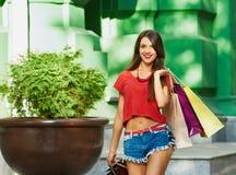 Γυναίκα ομορφιάς Shopaholic Στοκ Εικόνα