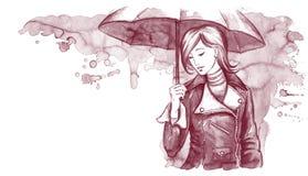γυναίκα ομπρελών Στοκ φωτογραφία με δικαίωμα ελεύθερης χρήσης