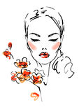 γυναίκα λουλουδιών διανυσματική απεικόνιση