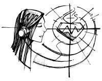 Γυναίκα ο ακούοντας Ιησούς Sacred Heart διανυσματική απεικόνιση