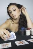 γυναίκα παιχνιδιού καρτών Στοκ Εικόνες