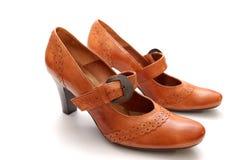 γυναίκα παπουτσιών δέρματ& Στοκ Φωτογραφίες