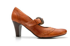γυναίκα παπουτσιών δέρματ& Στοκ εικόνα με δικαίωμα ελεύθερης χρήσης