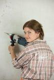 γυναίκα παραθύρων εργαλείων επιδιόρθωσης κήπων Στοκ Φωτογραφίες