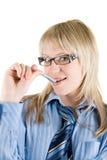 γυναίκα πεννών επιχειρησ&iot Στοκ εικόνα με δικαίωμα ελεύθερης χρήσης