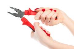 γυναίκα πενσών χεριών Στοκ Φωτογραφία