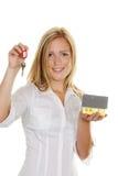 γυναίκα πλήκτρων σπιτιών δ&iot Στοκ εικόνα με δικαίωμα ελεύθερης χρήσης
