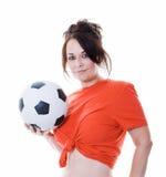 γυναίκα ποδοσφαίρου σφαιρών Στοκ φωτογραφίες με δικαίωμα ελεύθερης χρήσης