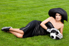 γυναίκα ποδοσφαίρου σφ&a Στοκ Εικόνα