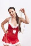 γυναίκα πουλιών santa φορεμάτ& στοκ εικόνα