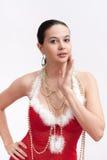 γυναίκα πουλιών santa φορεμάτ& στοκ φωτογραφία