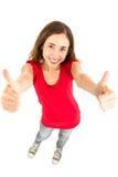 Γυναίκα που δίνει τους αντίχειρες επάνω και με τα δύο χέρια Στοκ Εικόνες