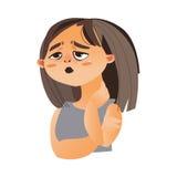 Γυναίκα που αισθάνεται την κούραση, διανυσματική απεικόνιση κινούμενων σχεδίων απεικόνιση αποθεμάτων