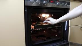 Γυναίκα που ανοίγει την πόρτα της σόμπας, που ψήνει το φούρνο και που αναμιγνύει τα κομμάτια πατατών με ένα κουτάλι μαγειρεύοντας απόθεμα βίντεο