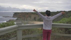 Γυναίκα που απολαμβάνει τη θέα του αυστραλιανού τοπίου παραλιών απόθεμα βίντεο