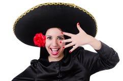 Γυναίκα που απομονώνεται μεξικάνικη στοκ εικόνες