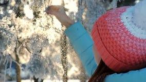Γυναίκα που απολαμβάνει στο χειμερινό δάσος στο ηλιοβασίλεμα απόθεμα βίντεο