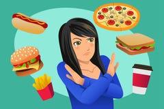 Γυναίκα που αρνείται την απεικόνιση πειρασμού γρήγορου φαγητού στοκ φωτογραφίες με δικαίωμα ελεύθερης χρήσης