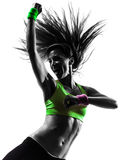 Γυναίκα που ασκεί τη χορεύοντας σκιαγραφία zumba ικανότητας Στοκ εικόνες με δικαίωμα ελεύθερης χρήσης