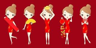 Γυναίκα που γιορτάζει το κινεζικό νέο έτος απεικόνιση αποθεμάτων