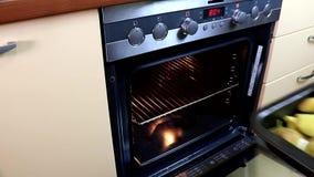 Γυναίκα που γυρίζει, που ανάβει τη σόμπα, που ψήνει το φούρνο και που βάζει το εσωτερικό γεύματος προκειμένου να το μαγειρεψει φιλμ μικρού μήκους