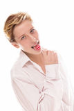 Γυναίκα που γλείφει ένα lollipop Στοκ εικόνα με δικαίωμα ελεύθερης χρήσης