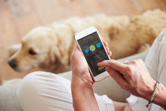 Γυναίκα που εξετάζει τον έλεγχο υγείας App σε Smartphone Στοκ Εικόνες