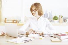 Γυναίκα που εξετάζει το όργανο ελέγχου lap-top Στοκ εικόνα με δικαίωμα ελεύθερης χρήσης