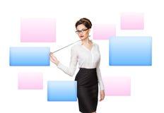 Γυναίκα που εργάζεται με την εικονική οθόνη στοκ εικόνες με δικαίωμα ελεύθερης χρήσης