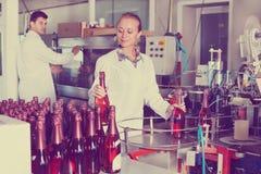 Γυναίκα που εργάζεται στην παραγωγή κρασιού σε manufactory Στοκ φωτογραφία με δικαίωμα ελεύθερης χρήσης