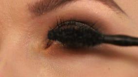 Γυναίκα που εφαρμόζει mascara στα μακροχρόνια eyelashes της απόθεμα βίντεο