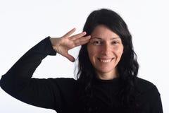 Γυναίκα που κάνει στρατιωτικούς να χαιρετήσουν στοκ φωτογραφία με δικαίωμα ελεύθερης χρήσης