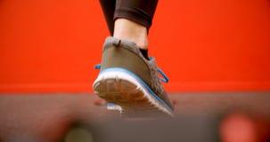 Γυναίκα που κάνει την ισορροπώντας άσκηση στο στούντιο 4k ικανότητας απόθεμα βίντεο