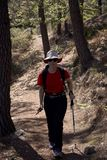 Γυναίκα που κάνει την οδοιπορία στη φύση στοκ φωτογραφία