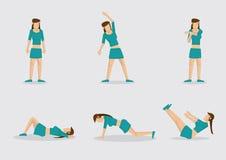 Γυναίκα που κάνει τη διανυσματική απεικόνιση χαρακτήρα ασκήσεων προθέρμανσης Στοκ Εικόνα