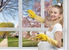 Γυναίκα που καθαρίζει ένα παράθυρο Στοκ εικόνες με δικαίωμα ελεύθερης χρήσης