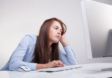 Γυναίκα που κουράζεται στην εργασία Στοκ Φωτογραφίες